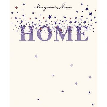 "NEW HOME CARD ""STARS & SPARKLE HOME"" SIZE 7"" x 5.75"" JOHI 0052"